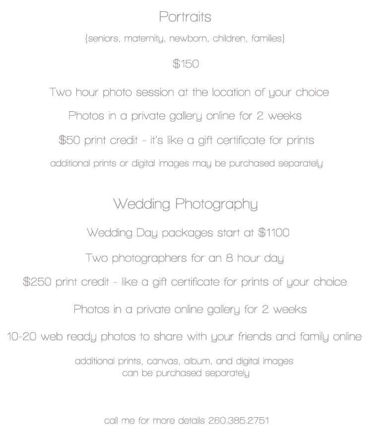April Moord Photography Price List