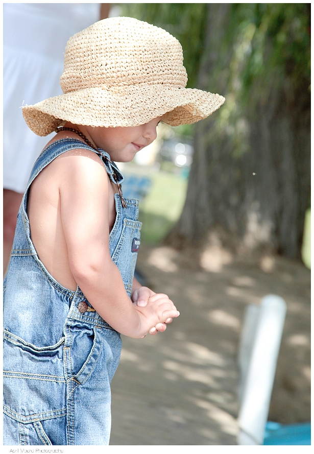 overalls and hat