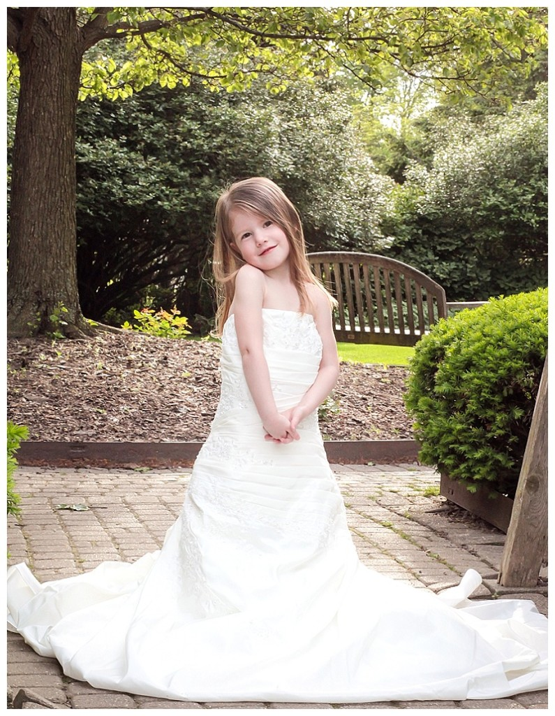 Daughter in wedding dress